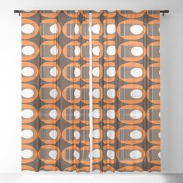 Brown Oval Faded Rectangle Retro Print Sheer Curtain