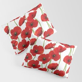 Poppies Flowers red field white background pattern Pillow Sham