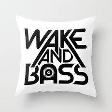 Wake And Bass (Black) Throw Pillow