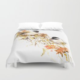 Chickadee bird art, design, chickadees artwork Duvet Cover