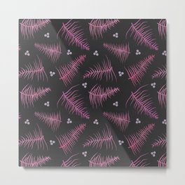 Ombré Fronds & Berries in Pink Metal Print