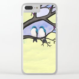 tree swallows in the stained glass tree Clear iPhone Case