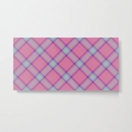 Pink Blue Tartan Texture Metal Print