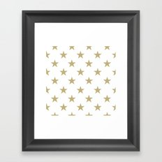 Stars (Sand/White) Framed Art Print
