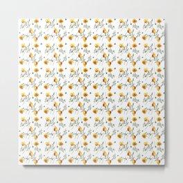 Yellow Poppy Pattern Metal Print
