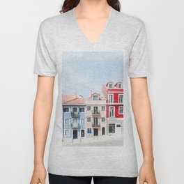 Colorful Buildings Unisex V-Neck