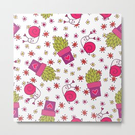 Abstract neon pink green funny snail cactus floral Metal Print