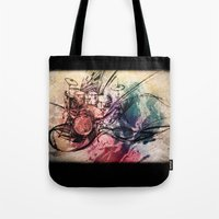 drum Tote Bags featuring Drum by Joanne Chen