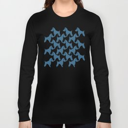 Dog Pattern | Schnauzer | M. C. Escher Inspired Artwork by Tessellation Art Long Sleeve T-shirt