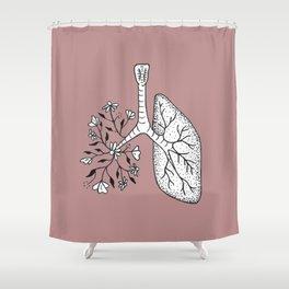 Floral Lung Illustration — Half Floral Human Lung Anatomy Design Shower Curtain