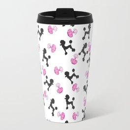 Cute girly pink black perfume bottle french poodle dog Travel Mug