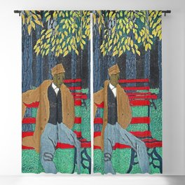 African American Masterpiece 'Man on a Bench' by Horace Pippin Blackout Curtain