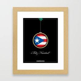 Feliz Navidad Puerto Rico Flag Framed Art Print