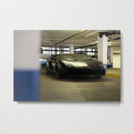 Black Lamborghini Aventador Metal Print