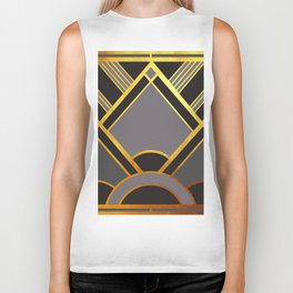 Art Deco New Tomorrow In Grey Biker Tank