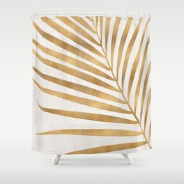 Metallic Gold Palm Leaf Shower Curtain
