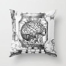 Mother Brain Super Metroid Engraving Scene Throw Pillow