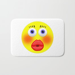 Smiley Embarrassed Kissing Girl Bath Mat
