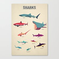 sharks Canvas Prints featuring Sharks by Simon Alenius