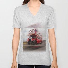 Old Red London Bus Vintage transport Unisex V-Neck