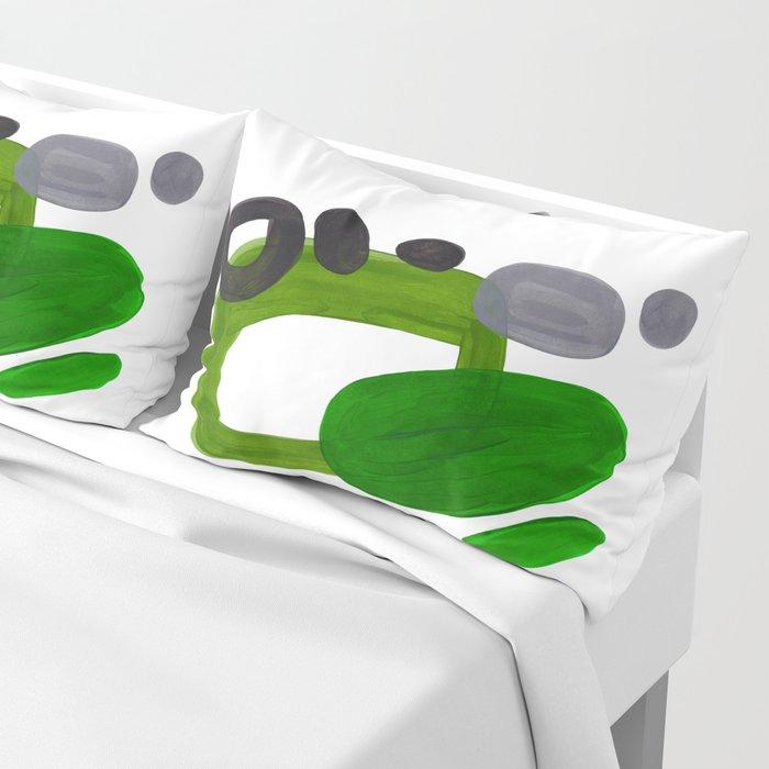 Mid Century Vintage 70's Design Abstract Minimalist Colorful Pop Art Olive Green Dark Green Grey Pillow Sham