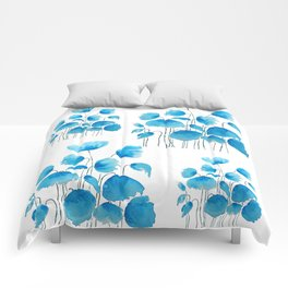 blue poppy field watercolor Comforters