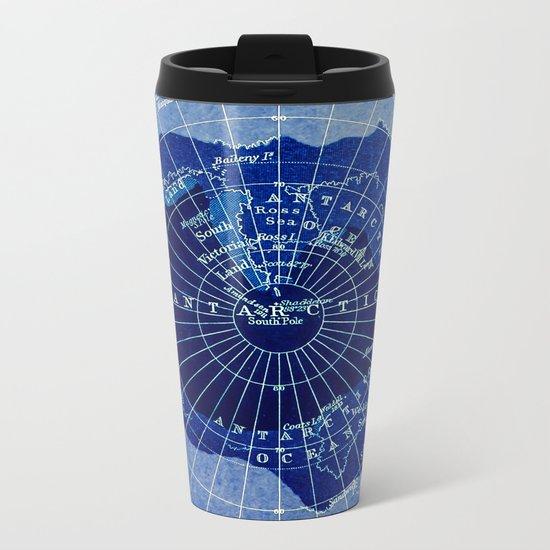 South Pole Neon Map Metal Travel Mug