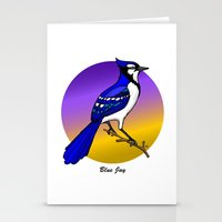 jay fleck Stationery Cards featuring BLUE JAY by SCREAMNJIMMY