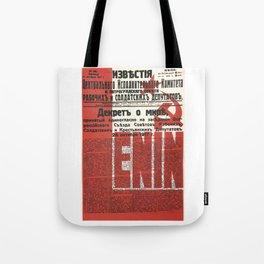 Russia, URSS Vintage Poster, Lenin, Newspaper Tote Bag
