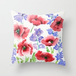 Poppies and Bells Throw Pillow