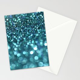turquoise glitter trail Stationery Cards