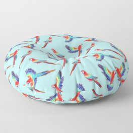 Simple Golden Red Macaws - Baby Blue Floor Pillow