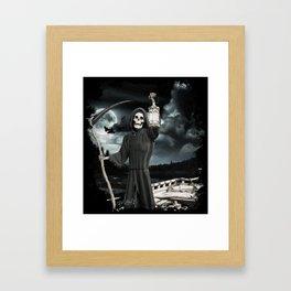 FERRYMAN Dark Fantasy Grim Reaper Halloween Design Framed Art Print