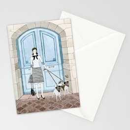 Lady With Two Dogs Stationery Cards