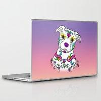 bull terrier Laptop & iPad Skins featuring Staffordshire Bull Terrier Sugar Skull by CraftyK9