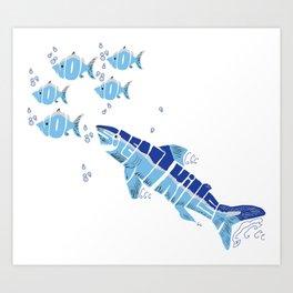 Silent Killer eats Nom Nom Fish Art Print