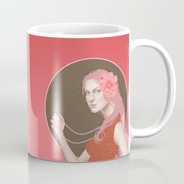 Girl Holding a Pearl Necklace Coffee Mug