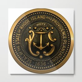 Rhode Island and Providence Plantations Hope and Anchor bronze state seal art portrait Metal Print