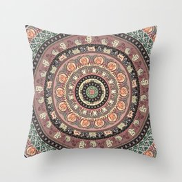 Cat Yoga Medallion Throw Pillow
