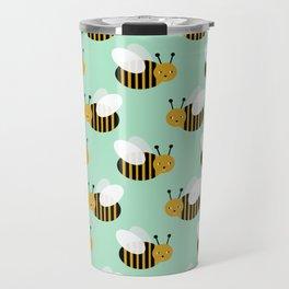 Bee pattern print mint honey bees nature inspired cute nursery kids gender neutral pattern Travel Mug