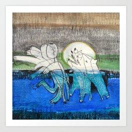 swimming in the midnight-2- Art Print