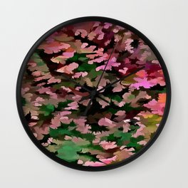 Foliage Abstract In Pink, Peach and Green Wall Clock