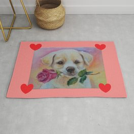 Puppy with quote Love My Love my Dog Rug