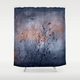 Flocking Blackbirds Shower Curtain