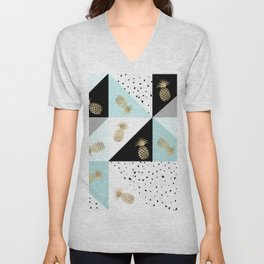 Pastel color block watercolor dots faux gold pineapple Unisex V-Neck