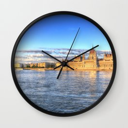 Budapest River Danube Sunset Wall Clock