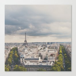the Eiffel Tower in Paris on a stormy day. Canvas Print