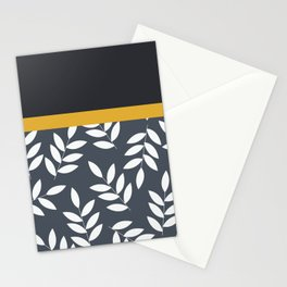 Leaves Pattern in Black Grey nad Yellow Stationery Cards