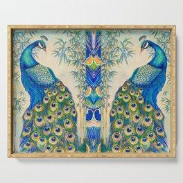 Blue Peacocks Serving Tray