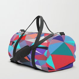 geometric triangle polygon pattern abstract background in red blue purple Duffle Bag